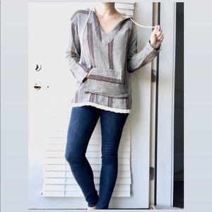 Vintage Havana Striped Baja Hoodie Pullover Size L